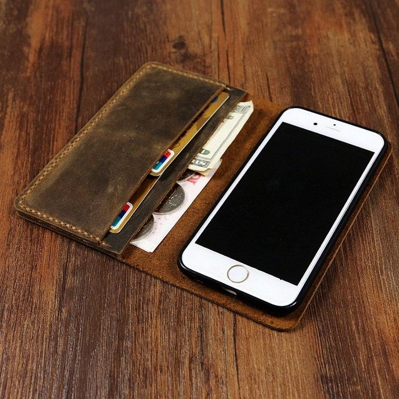 Handmade Distressed Leather iPhone Bi-Fold Wallet Case