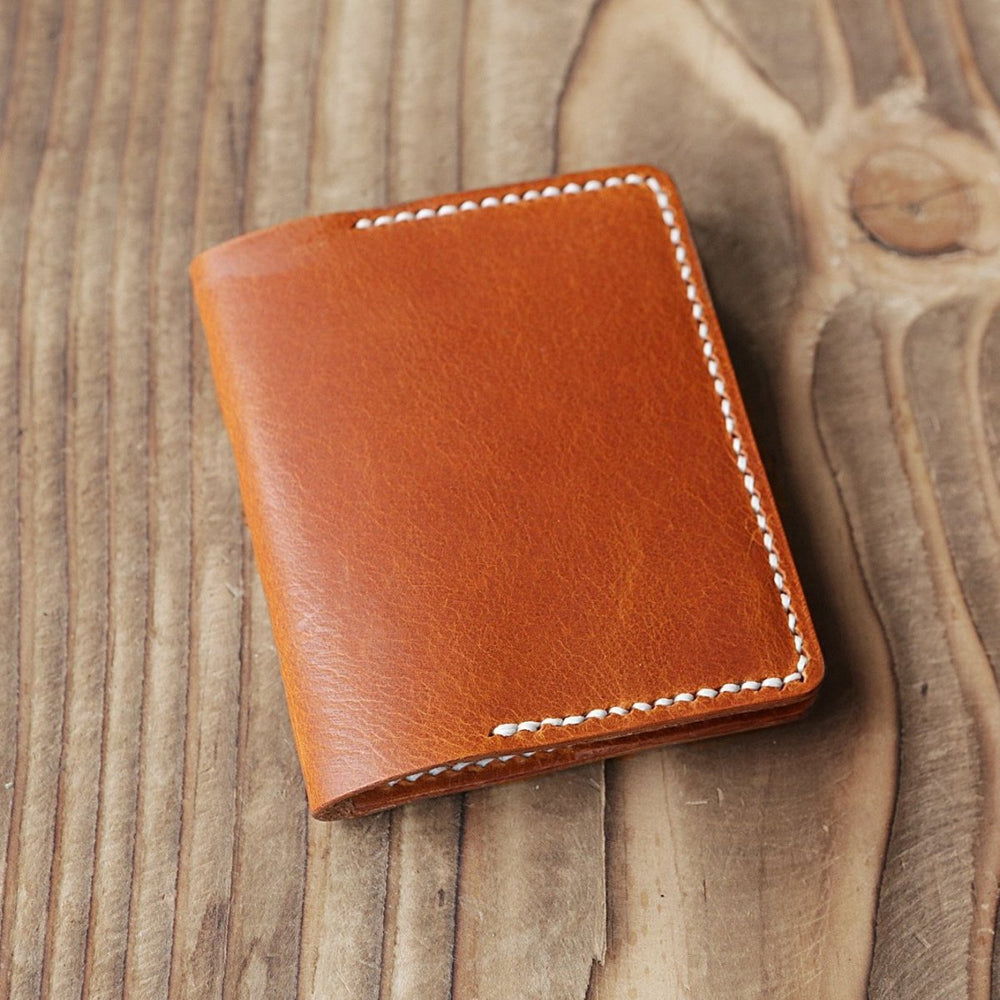 Handmade Leather Slim Bi-fold Minimalist Card Wallet - Vintage Rebellion