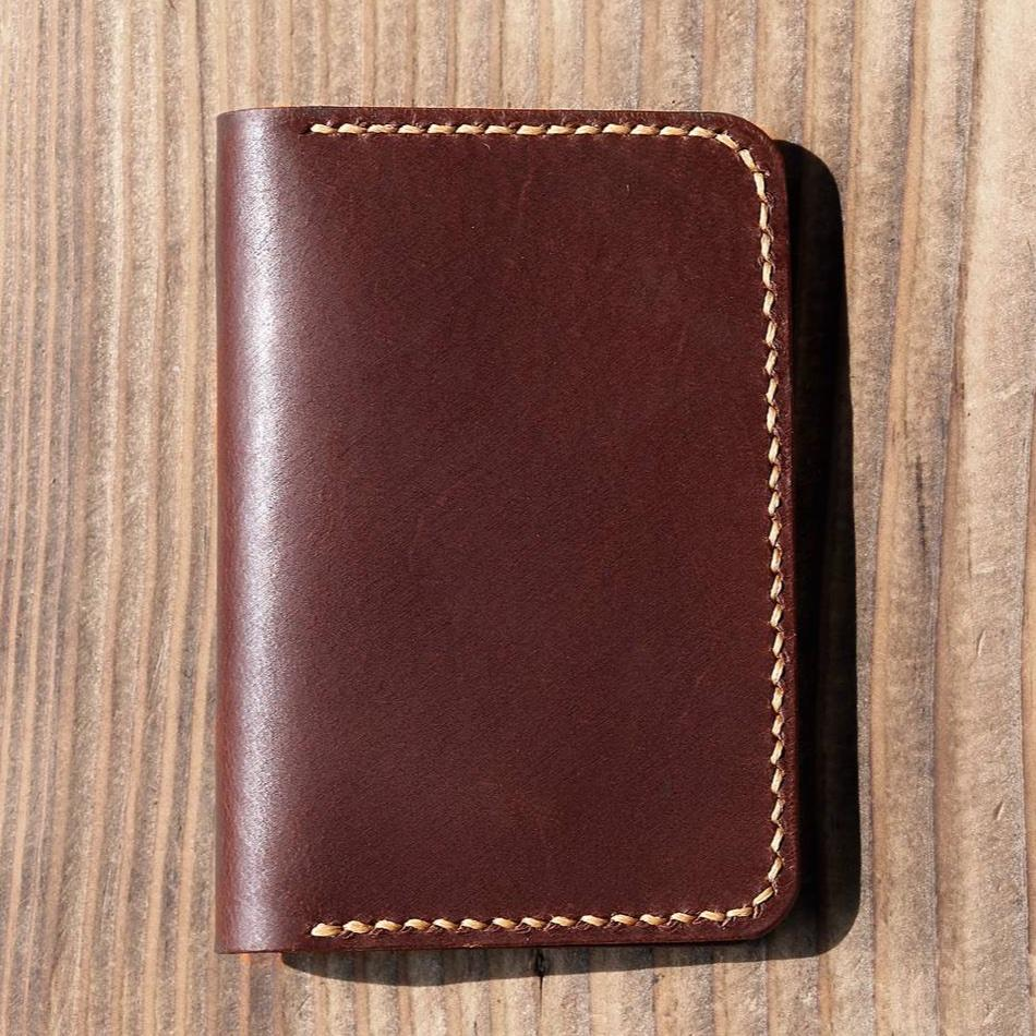 Handmade Leather Slim Vertical Bi-fold Wallet - Vintage Rebellion