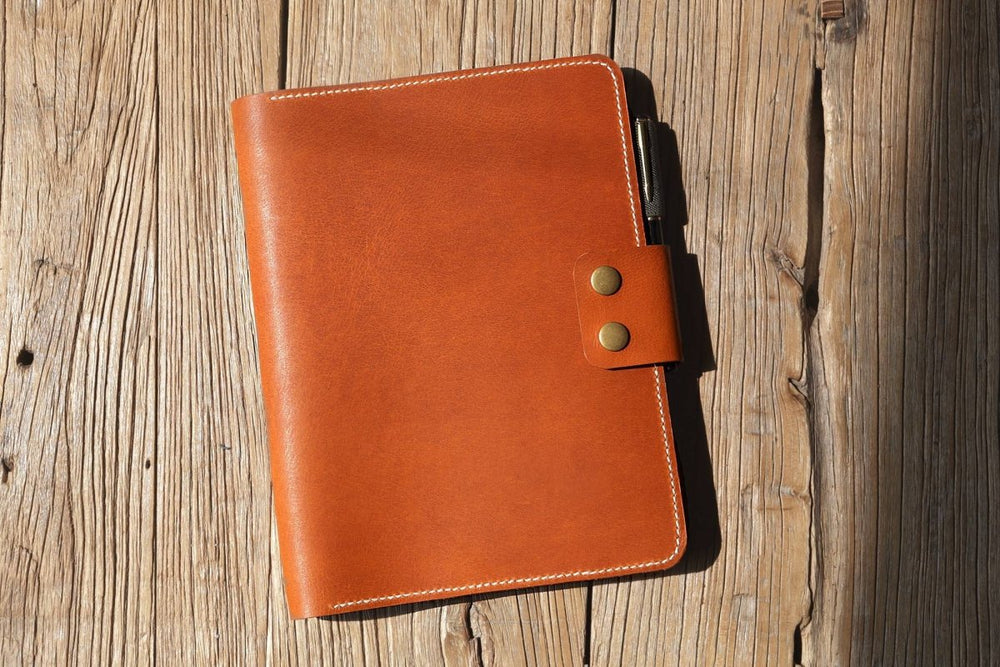 Vegetable Tanned Leather Journal Cover For Composition Notebooks - Vintage Rebellion