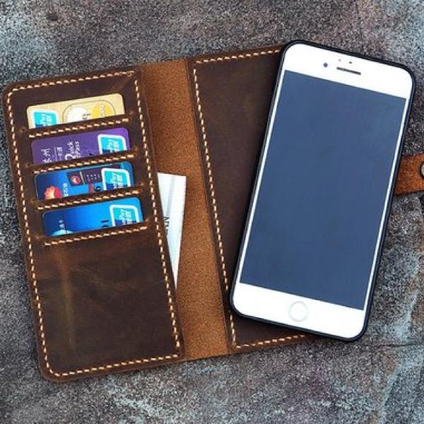 Vintage Distressed Leather Magnetic iPhone Wallet Case