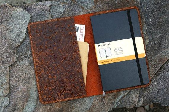 Vintage Flower Embossed Large Journal Cover For Moleskine Journals - Vintage Rebellion