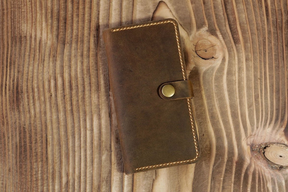 Vintage Handmade Distressed Leather iPhone Wallet Case - Vintage Rebellion