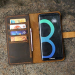 Vintage Handmade Distressed Leather Samsung Wallet Case