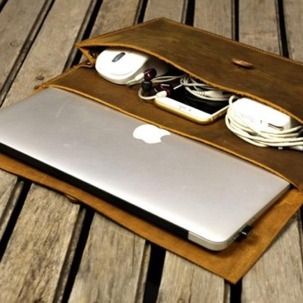 Vintage Handmade Leather Macbook Pro Cover With Large Pocket