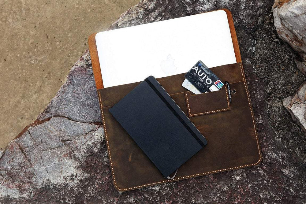 Vintage Handmade Leather Snap Close Macbook Pro Cover - Vintage Rebellion