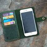 Vintage Handmade Women's Distressed Leather iPhone Wallet Case