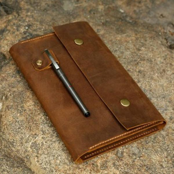 Vintage Leather Large Snap Close Journal Cover For Moleskine Journals