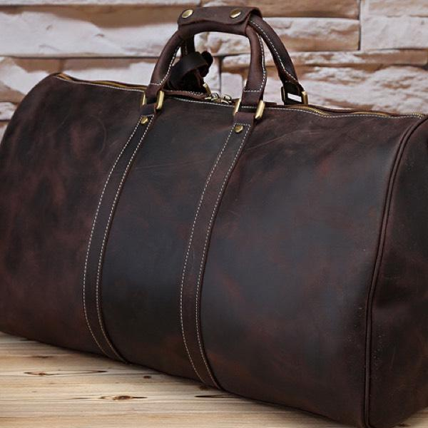 "Vintage Style Crazy Horse Leather 22"" Duffel Overnight Bag - Vintage Rebellion"