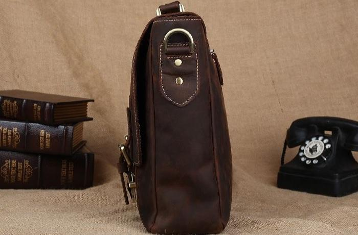 "Vintage Style Distressed Leather 15"" Laptop Business Briefcase - Vintage Rebellion"