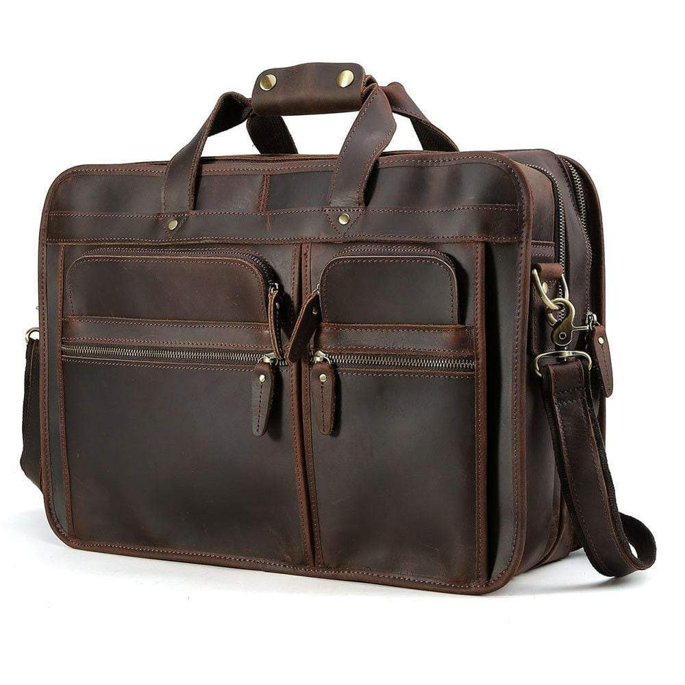 "Vintage Style Distressed Leather 17"" Laptop Messenger Briefcase - Vintage Rebellion"