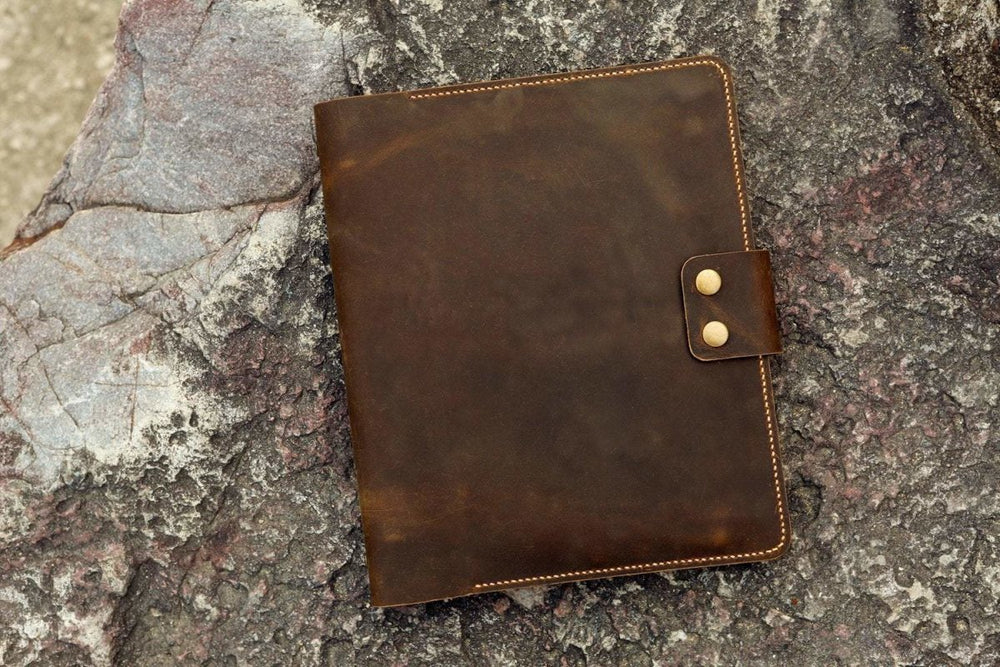 Vintage Style Distressed Leather 3 Ring Binder Organizer - Vintage Rebellion