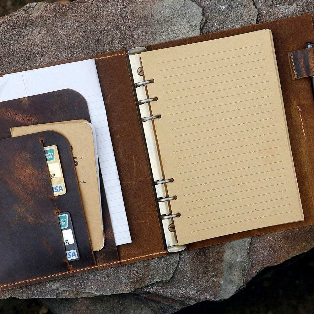 Vintage Style Distressed Leather A5 6 Ring Binder Organizer
