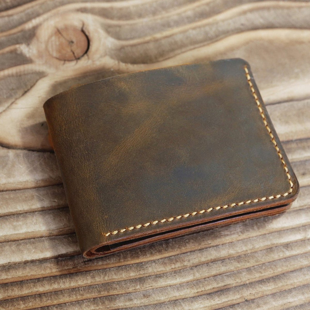 Vintage Style Handmade Distressed Leather Bi-fold Wallet