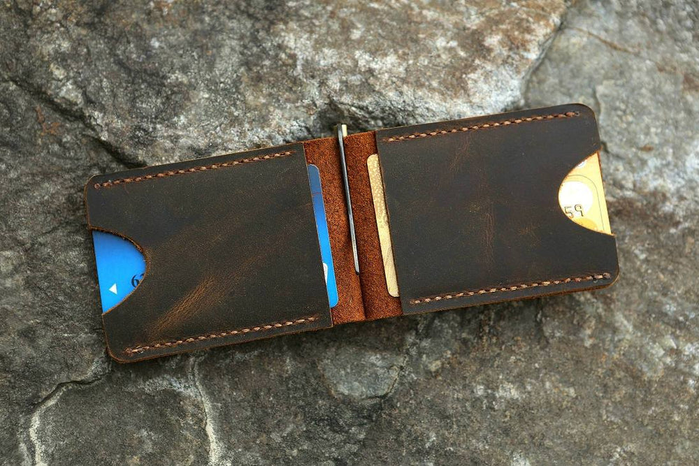 Vintage Style Handmade Distressed Leather Money Clip Wallet - Vintage Rebellion