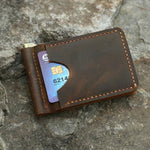 Vintage Style Handmade Distressed Leather Money Clip Wallet