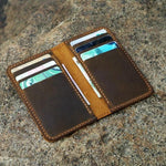 Vintage Style Handmade Distressed Leather Vertical Bi-fold Wallet - Vintage Rebellion