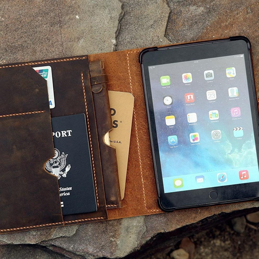 Vintage Style Handmade Leather iPad Mini Stand Cover