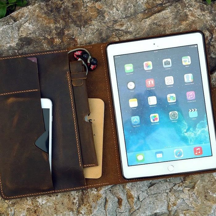 Vintage Style Handmade Leather iPad Stand Organizer Cover