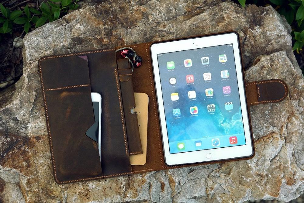 Vintage Style Handmade Leather iPad Stand Organizer Cover - Vintage Rebellion