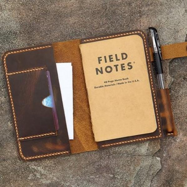 Vintage Style Handmade Portfolio Cover For Field Notes Pocket Notebooks