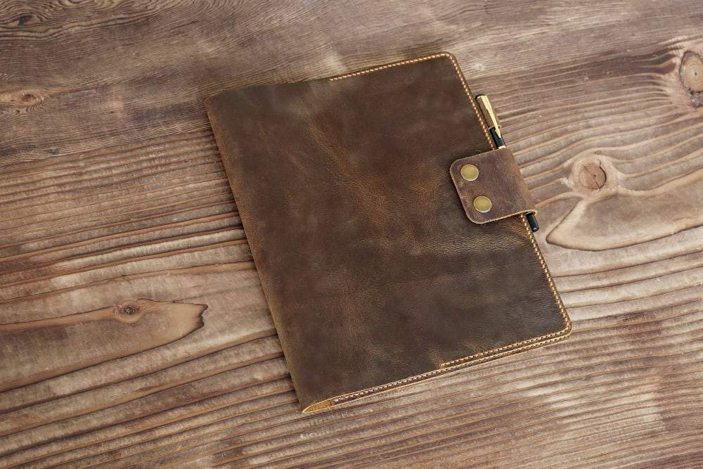 "Vintage Style Leather Cover for 8"" x 10.5"" 100 Page Spiral Notebook - Vintage Rebellion"