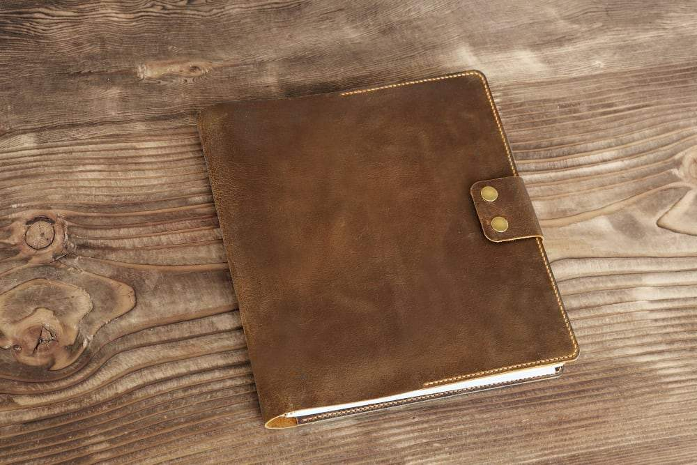 "Vintage Style Leather Cover for 8.5"" x 11"" 200 Page Spiral Notebook - Vintage Rebellion"