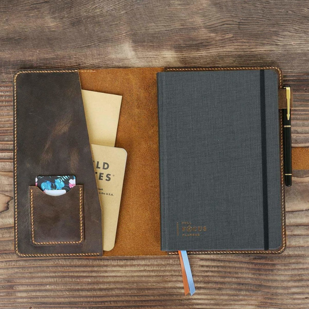 Vintage Style Leather Journal Cover For Full Focus Planner