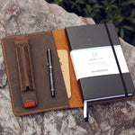 Vintage Style Leather Journal Cover With Pen Sleeve For Panda Planner - Vintage Rebellion