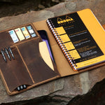 Vintage Style Leather Organizer Cover for RHODIA A5+ Wirebound Notebook