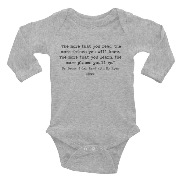 Design Your Own Book Quote Long Sleeve Baby Onesie