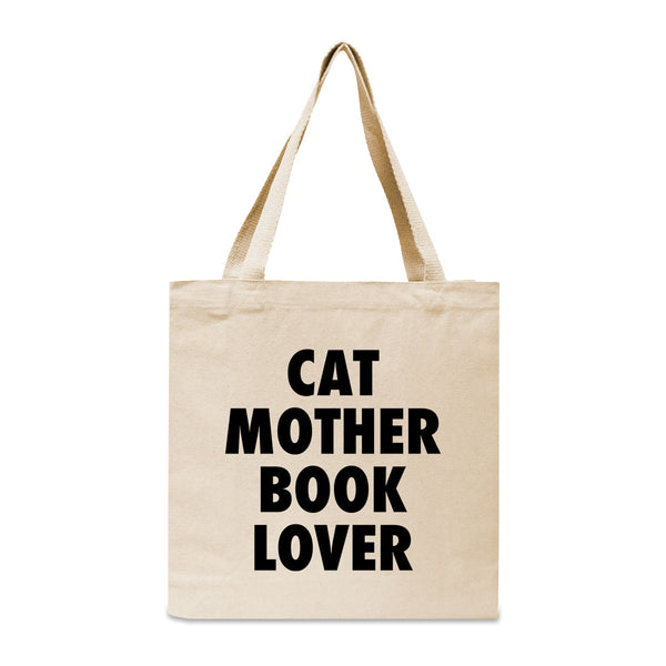 Cat Mother Book Lover Canvas Book Tote Bag
