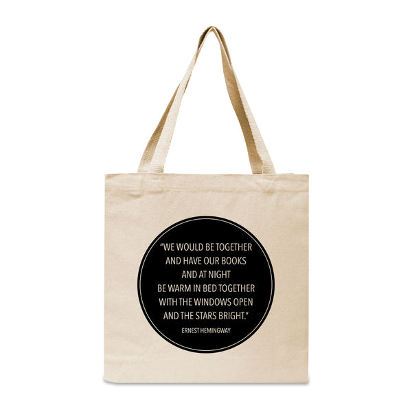 Ernest Hemingway Quote Canvas Book Tote Bag