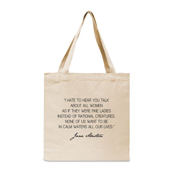 Jane Austen Feminist Quote Canvas Book Tote Bag