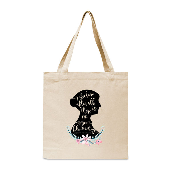 Jane Austen Pride and Prejudice Floral Quote Canvas Book Tote Bag