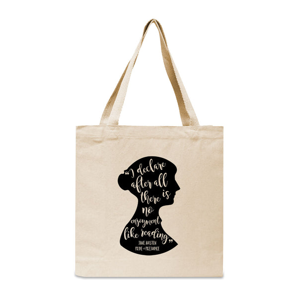 Jane Austen Pride and Prejudice Quote Canvas Book Tote Bag