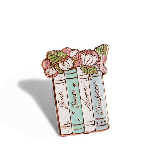 Just One More Chapter Floral Bookish Enamel Pin Badge
