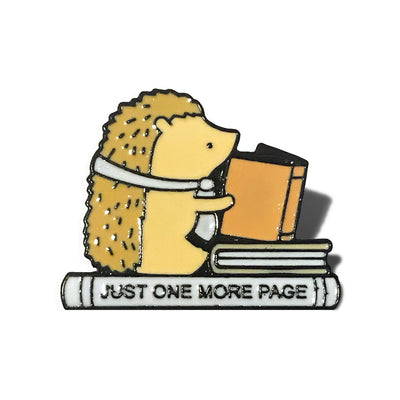 Just One More Page Hedgehog Bookish Enamel Pin Badge