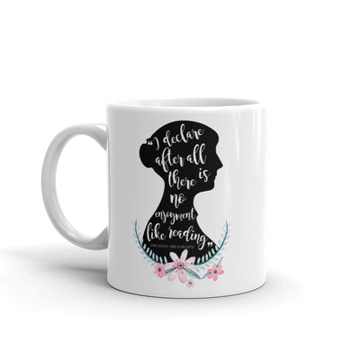 Jane Austen Silhouette Pride and Prejudice Quote Floral Literary Mug