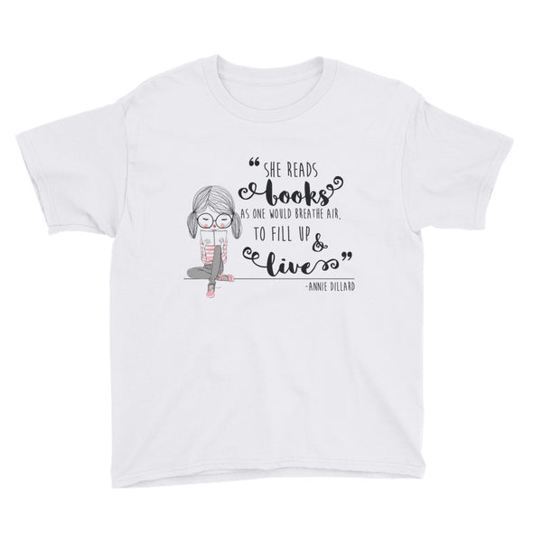 She Reads Books As One Would Breathe Air Youth Short Sleeve T-Shirt