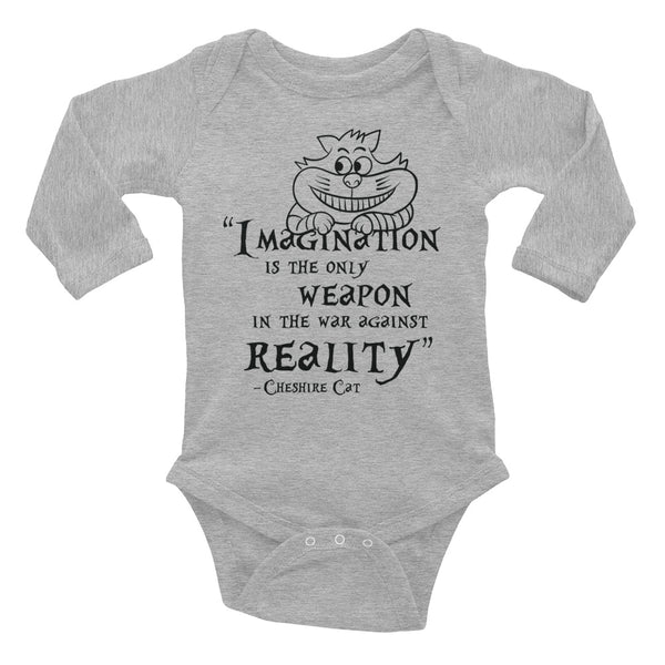 Cheshire Cat Quote Long Sleeve Baby Bodysuit