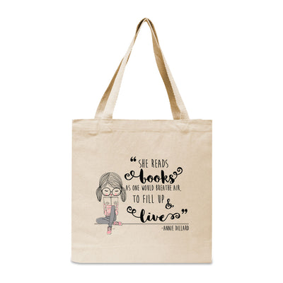 She Reads Books As One Would Breathe Air Canvas Book Tote Bag