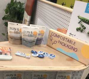 compostable and eco-friendly snack food packaging from Sun & Swell Foods.  Whole 30 Compliant snacks without any added sugars or preservatives.