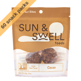 Environmentally friendly Whole 30 healthy office snacks in sustainable compostable pouches that contain only organic whole food ingredients like dates, cashews, and spices. Sun & Swell snacks are great on-the-go and found in offices and workspaces!
