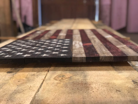 Oveview of a rustic wooden american flag