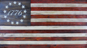 Rustic wooden Betsy Ross flag with 1776