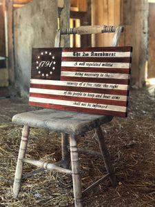 Rustic Wooden 2nd Amendment Flag