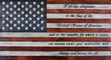 Load image into Gallery viewer, Rustic wooden American flag with the Pledge of Allegiance written in the stripes