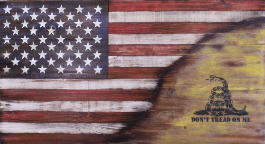 Rustic wooden American flag split with Gadsden flag