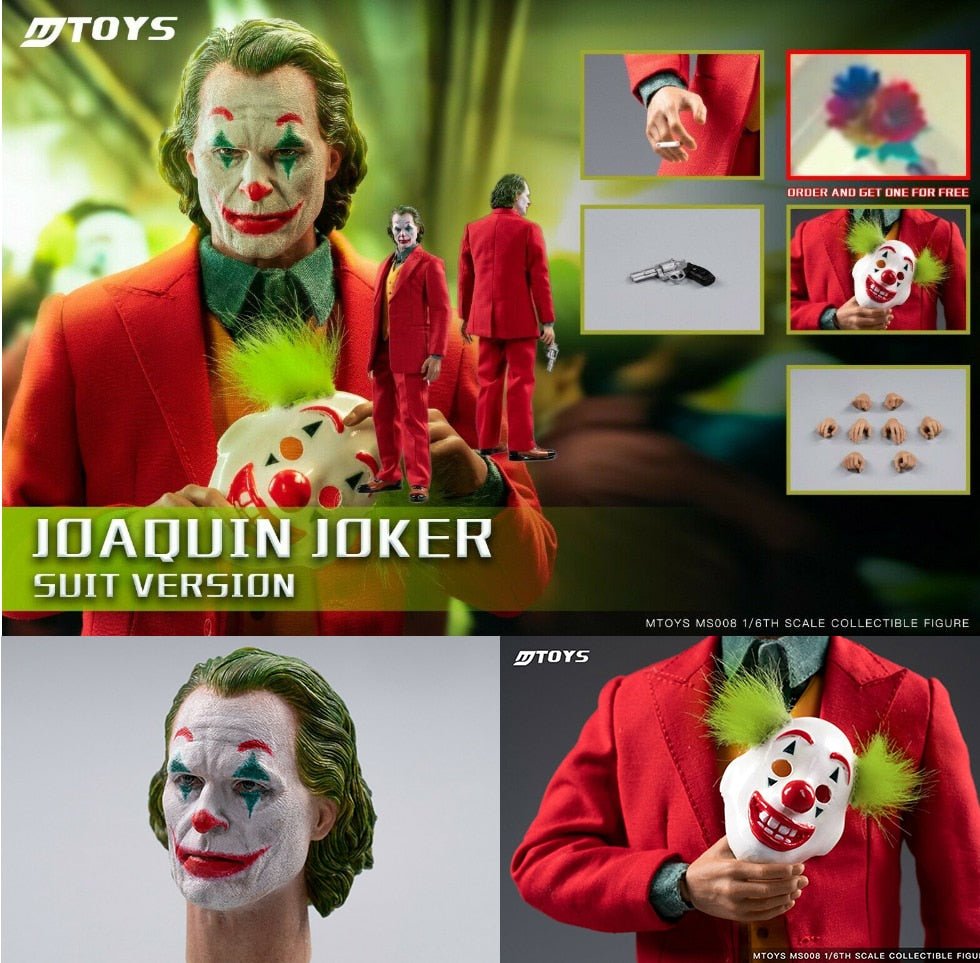 1/6 MTOYS Full Set Joker Joaquin Phoenix Clown Prequel Red Suit Ver. Makeup Head Sculpt With Mask ms008 Dolls Toy Picture - Magical Emporium